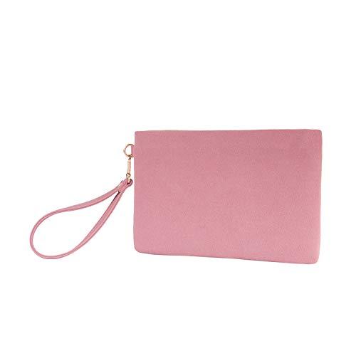 Pouch Evening (Wristlet Clutch Purses Women Large Wallet Evening Bag Handbag Vegan Faux Suede 2 Color Tone Pouch(Pink+Blush Pink))