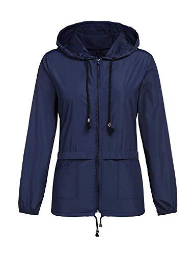 ZHENWEI Outwear Rain Jacket Women Waterproof with Hood Windbreaker Wind Softshell Thin Cool Fall XXL