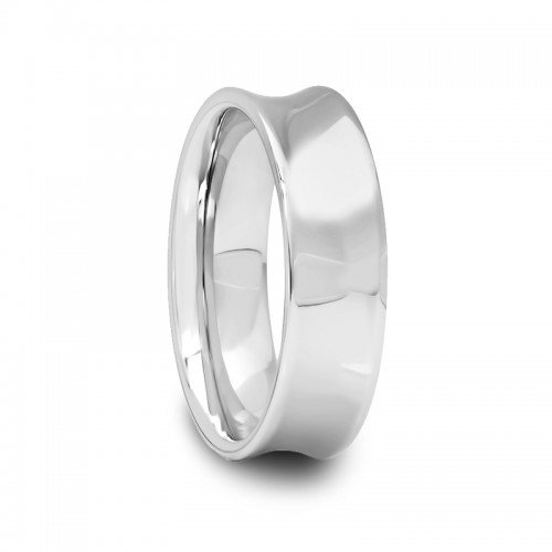 6 mm Mens Tungsten Carbide Rings Polished Concave (Ring Carbide Band Tungsten Concave)