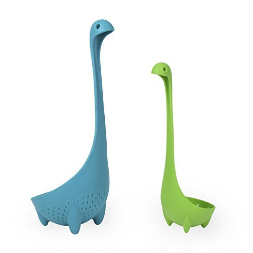Loch Ness Monster Family Set Vflyyy Mamma Colander and Babies Soup Ladle (Blue & Green)