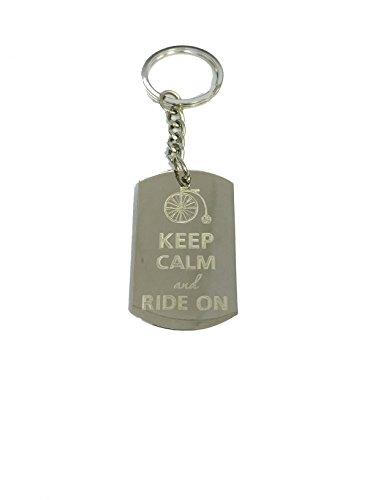 Keep Calm and Ride On Bike - Metal Ring Key Chain Keychain