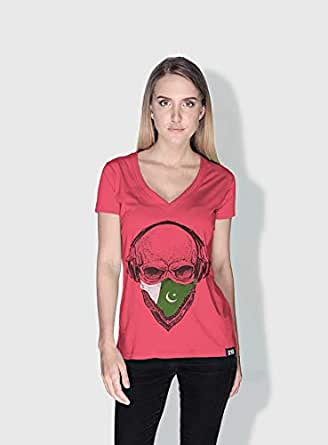 Creo Pakistan Skull T-Shirts For Women - L, Pink