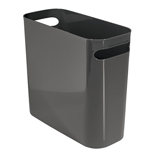 Kids Wastebaskets (mDesign Slim Plastic Rectangular Trash Can Wastebasket, Garbage Container Bin with Carrying Handles for Bathrooms, Kitchens, Home Offices, Dorms, Kids Rooms - 10