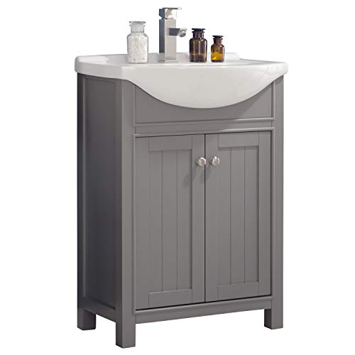 """LC24HGP Carson 24"""" Bathroom Vanity Set in French Gray Made with Hardwood and Integrated Porcelain Top"""