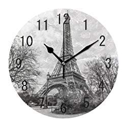 Landscape Paris Eiffel Tower France Round Wood Wall Clock for Home Decor Living Room Kitchen Bedroom Office School