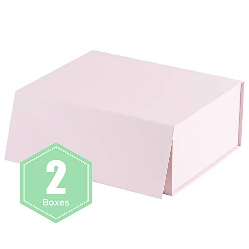 (WRAPAHOLIC 2Pcs Pink Gift Box 8.3x6.5x3.1 Inches, Collapsible Gift Box with Magnetic Closure for Party, Wedding, Gift Wrap, Bridesmaid Proposal, Storage)