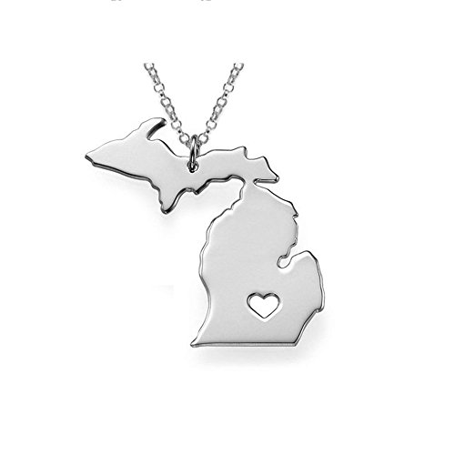(Michigan Map Necklace State Shaped Pendant Stainless Steel Map Concise Patriot with 19