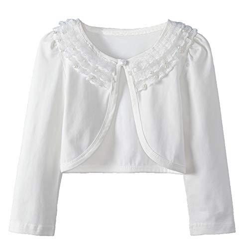 (Girl Lace Bolero Cardigan Shrug - Toddler Girl Long Sleeve Lace Flower Shrug Sweater 6-7T White)