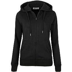 MAJECLO Women's Active Slim Fit Zip-Up Hoodie Jacket Long Sleeve Sweatshirt (X-Large, Slim_Black)