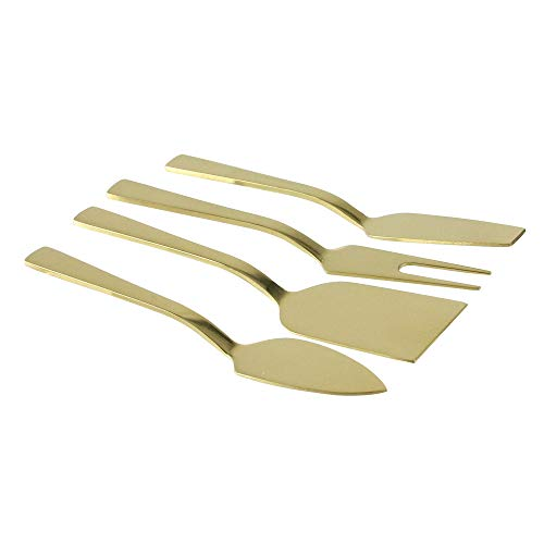 Set of 4 Metallic Gold Stainless Steel Modern Style Cheese Knives - Knife Cheese Gold