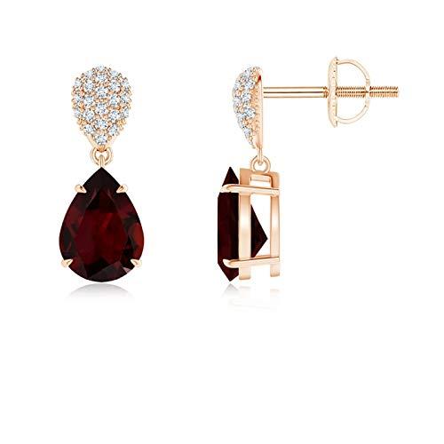 Claw-Set Garnet Drop Earrings with Diamond Pear Motif in 14K Rose Gold (8x6mm Garnet)