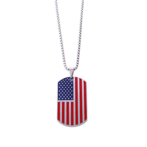 """Plated Rectangle Pendant (Stainless Steel American Flag USA Patriot Freedom Stars and Stripes Dog Tag Rectangle Pendant Necklace with Box Chain 23.62"""" (Silver Plated))"""