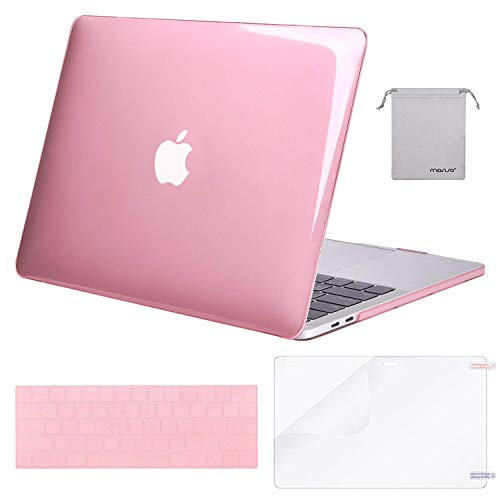 MOSISO MacBook Pro 13 Case 2019 2018 2017 2016 Release A1989 A1706 A1708, Plastic Hard Shell & Keyboard Cover & Screen Protector & Storage Bag Compatible Newest MacBook Pro 13 Inch, Crystal Pink