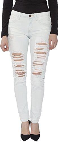 Machine Jeans Women Distress Ripped Skinny Jean 11 Super Light Blue Bleach White