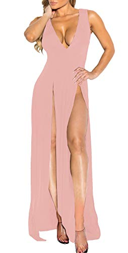 (Womens Bandage Side Split V Neck Sleeveless Bodycon Clubwear Maxi Vest Dress Pink XL)