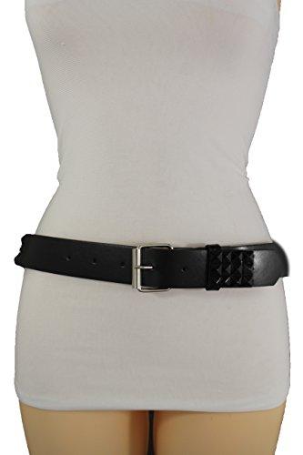 (TFJ Women Punk Rocker Fashion Belt Faux Leather Hip Waist Pyramid Studs Black Color (Large (36