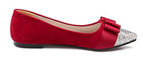 Aisun Women's Dressy Colour Block Low Top Flat Loafers Red r5wDOoM