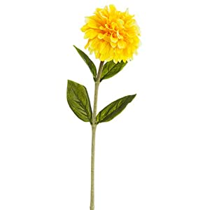 "29"" Zinnia Silk Flower Stem -Yellow (Pack of 12) 51"