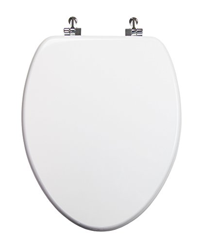 TOPSEAT Elongated Toilet Seat w/Chromed Metal Hinges, Wood, White
