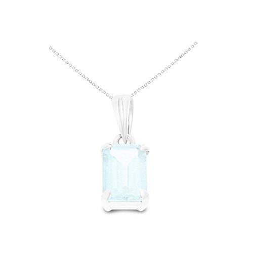 (14K White Gold 5 x 7 mm. Emerald Cut Genuine Natural Aquamarine Pendant With Square Rolo Chain Necklace)