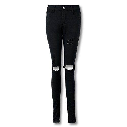 Lhwy Jeans rotos Tejanos De Alta Skinny Casual Vaqueros Elástico Lápiz Cintura Pantalones U0twI