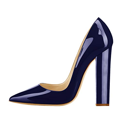 Onlymaker Women's Pointed Toe Block Chunky Classic High Heels Slip On Shoes Wedding Office Party Pumps Artificial Patent Leather Dark Blue US10 Dark Blue Patent Leather