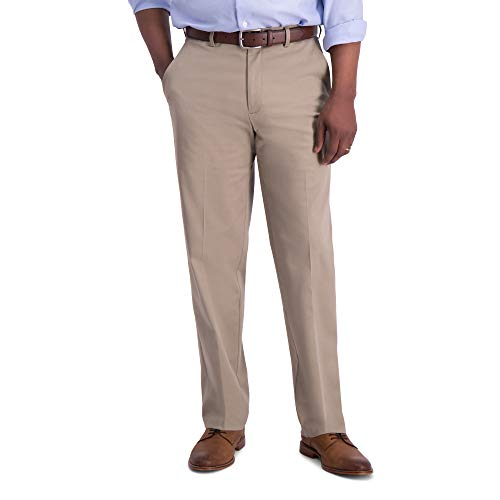Haggar Men's Iron Free Premium Khaki Classic Fit Flat Front Expandable Waist Casual Pant