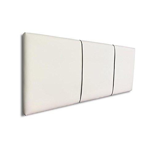 SERMAHOME- Cabecero Andorra tapizado Polipiel Color Blanco con Costura en Cordel Negro. Medidas: 110 x 55 x 7 cm (Camas 80, 90 y 105 cm).: Amazon.es: Hogar