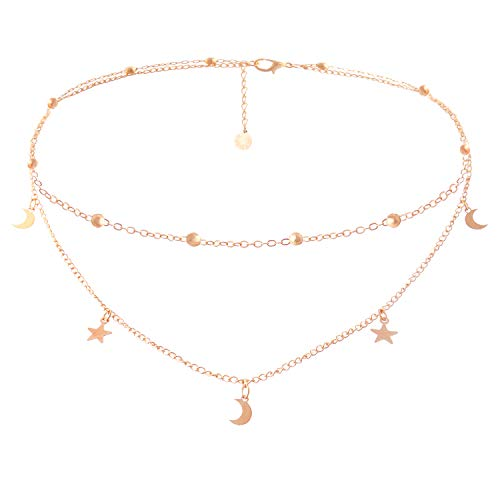 BaubleStar Fashion Layering Star Moon Charm Pendant Tassel Necklace Rose Gold Chain Choker Collar Layered Statement Jewelry for Women Girls B24RG