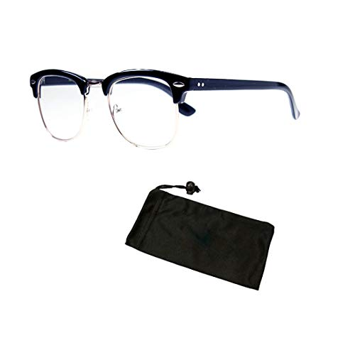 Retro Metal Wire Men Women 80 90' Classic Reading Glasses Reader + Free Accessories (Black, 1.50) ()
