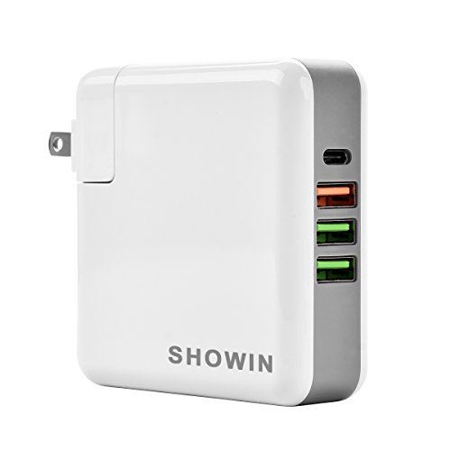 USB Type C Charger- Power Adapter Showin 61w 4 Port Wall Ch