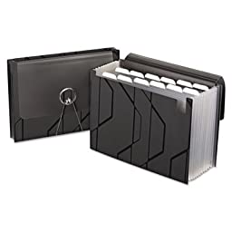 Sliding Cover Expanding File, 13 Pockets, 1/6 Tab, Letter, Black, Sold as 2 Each