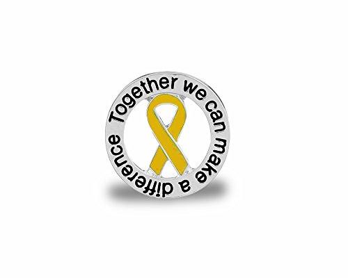 Gold Ribbon Round Awareness Pins (Wholesale Pack - 15 Pins) - Round Ribbon