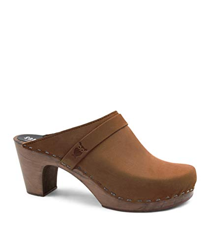 Sandgrens Swedish Clog Mules High Rise Wooden Heel for Women | Maya Dexter Tan, EU 39