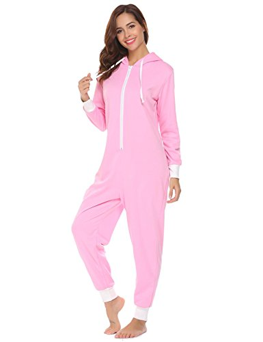 Ekouaer Family Pajamas Hooded One Piece Coupe Pajamas Onesie Jumpsuit Adult for Men Non Footed Women Pajamas Sleepwear S-XXL -