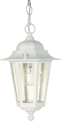 Nuvo 60/991 Hanging Lantern with Clear Seeded Glass, White