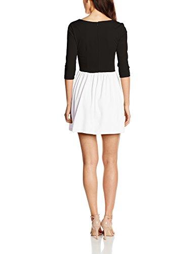 Femme Nero Robe Tre Manica Abito bianco Solo Capri Bicolore Multicolore Quarti xwp061WqT7