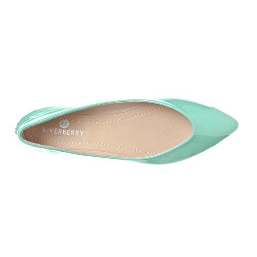 Riverberry Womens Ella Basic Closed Pointed Toe Ballet Flat Slip on Shoe Mint Patent hrC4g