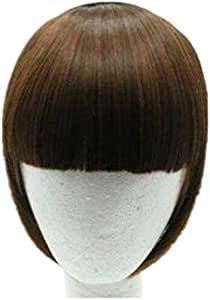 Natural Real Human Hair Flat Bangs/Fringe Hand Tied Bangs Fashion Clip-in Hair Extension (Flat Bangs with Temples, Black Brown)