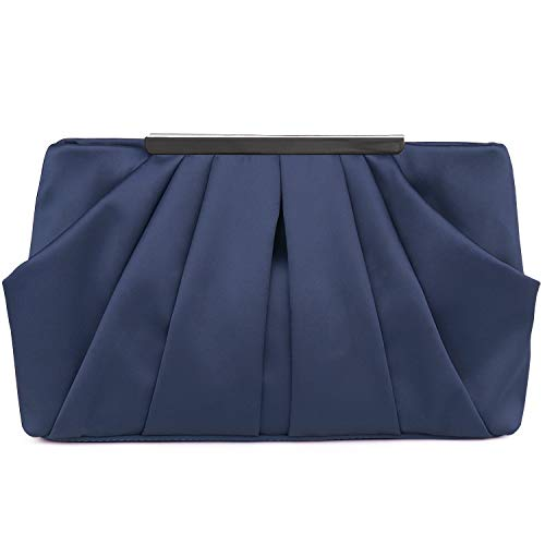 Womens Pleated Satin Evening Handbag Clutch With Detachable Chain Strap Wedding Cocktail Party Bag Blue