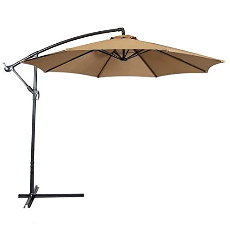 Patio Umbrella Offset 10u0027 Hanging Umbrella Outdoor Market Umbrella New ( Brown)
