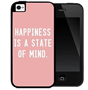 Happiness is a State of Mind Quote with Light Pink Background 2-Piece Dual Layer High Impact Black Silicone Cell Phone Case Cover iPhone 4 4s