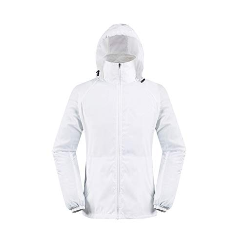 (vermers Men Women Lightweight Jackets Outerwear Casual Waterproof Windbreaker Jacket Running Hooded Coat(S, White))