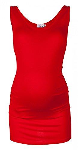 Happy Mama. Para Mujer Camiseta Top premamá. Cuello Redondo. Sin Mangas. 792p (Rojo, EU 36/38, M)