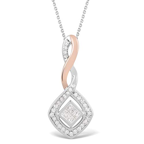 925 Sterling Silver & 10K Rose Gold 1/4 Carat Round and Princess-Cut (H-I Color, I2 Clarity) Natural Diamond Pendant for Women ()