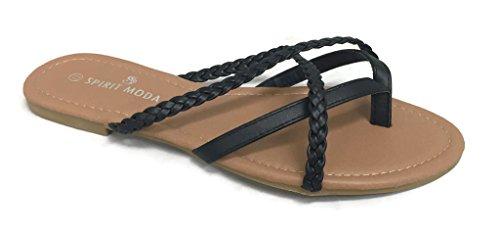 Girls Club Alva Strappy Flip Flops Summer Sandal Criss Cross Double Straps, Black Braided, 7.5 ()