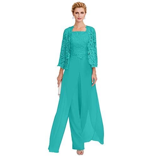 TS Pantsuit Straps Floor Length Chiffon Corded Lace Split Front Mother of The Bride Dress with Appliques Jade