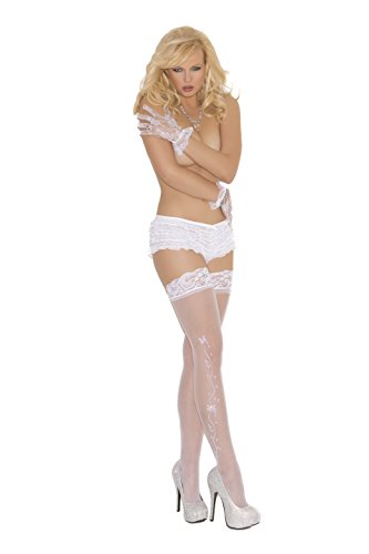- Sexy Wedding Bells Sheer Lace Top Thigh Hi's(One Size, White)