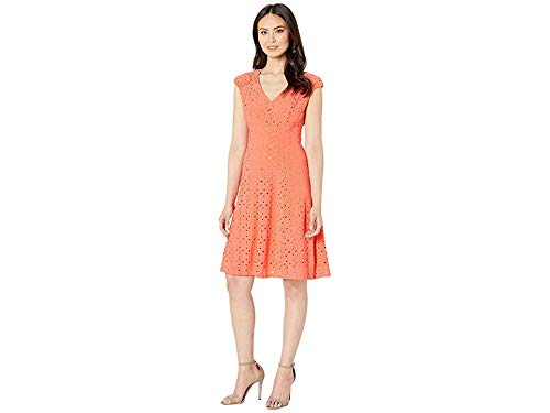 London Times Women's Shirred Shoulder Fit and Flare Coral 4