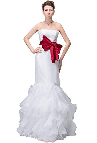 Pronovias Bridal Dresses - Angel Formal Dresses Tulle Ribbon Trumpet Satin Dropped Waist Wedding Dress(18,White)